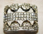 Rhinestone Scallop Art Deco Statment Bride Wedding Vintage Costume Jewelry Silver Shadow Cuff