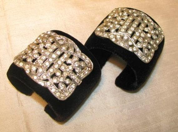 Rhinestone Shoe Buckle Vintage Costume Jewelry Park Avenue Cuffs