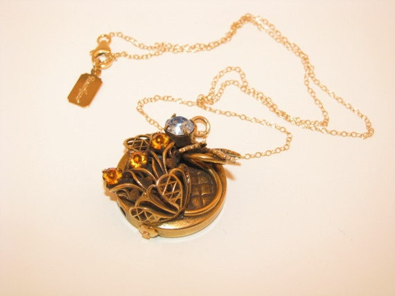 """Vintage Costume Jewelry Victorian Slide Pendant Necklace """"Morning Glory"""""""