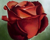 ORIGINAL Flower Painting - SALE Original Oil Painting - Flower Art - Red Rose Painting Fine Art Painting Roses Are Red Rose Blossom