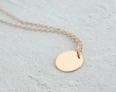 Single gold disc necklace - round gold disc, single charm