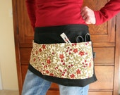 Utility Apron - Flowers & Berries Jubilee // Black Canvas w-Red, Multi, Cream Fabric // Craft-Vendor