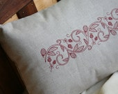 Embroidered Lumbar Pillow Cover - Acorn Harvest - 12x16 Embroidered Red Acorn & Berries on Oatmeal Linen