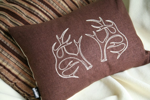 Rustic Antlers - Lumbar Throw Pillow Cover // Embroidered Cream Antlers on Dk Brown & Oatmeal Linen