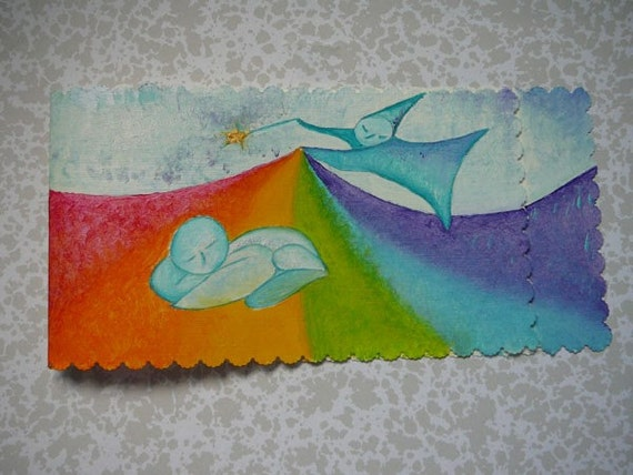 HANDMADE CARD Fairy birth original loil card by Gioia Albano