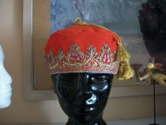 RESERVED gold embroidered SMOKING CAP