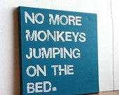 12X12 Canvas Sign - No More Monkeys Jumping On The Bed, Typography Word Art, Subway Art, Sign, Decor, Gift, Turquoise Blue and White