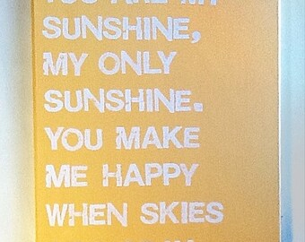 16X20 Canvas Sign - You Are My Sunshine, My Only Sunshine, Decoration, Yellow and White, Typography word art, Decoration, Gift