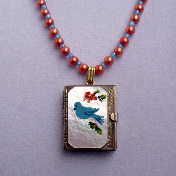 Vintage Locket BlueBird Multi Page Photo Book Album OOAK Handstrung Necklace