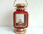 Red & Gold Tone Oil Lamp