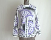 Psychedelic Purple & White Blouse