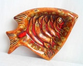 Orange & Red Fish Ceramic Tray