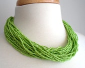 Bright Green Seed Bead Layered Necklace