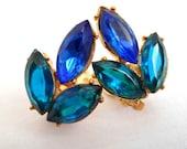 Royal Blue & Turquoise Rhinestone Gold Tone Clip On Earrings