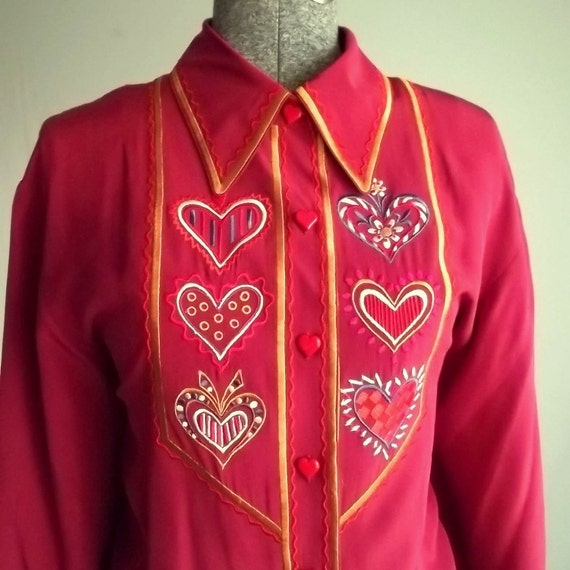 Bob Mackie Dark Red Silk Blouse with Heart Details