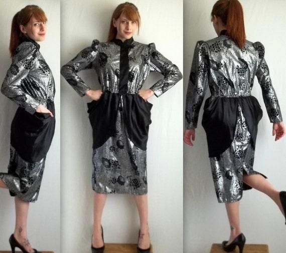 Crazy Silver and Black Peplum Dress
