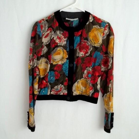 Rainbow Floral Velvet Cardigan