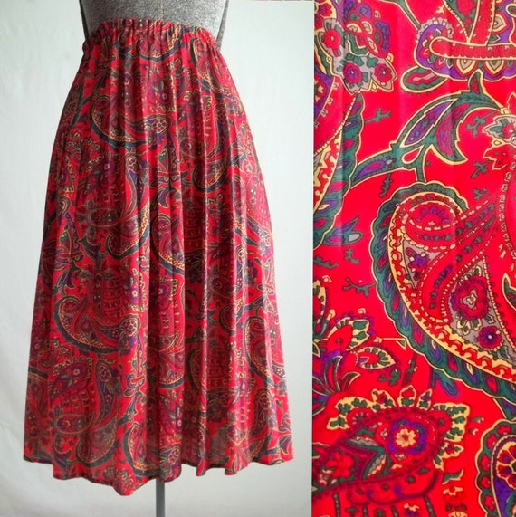 Red Paisley Pleated Skirt