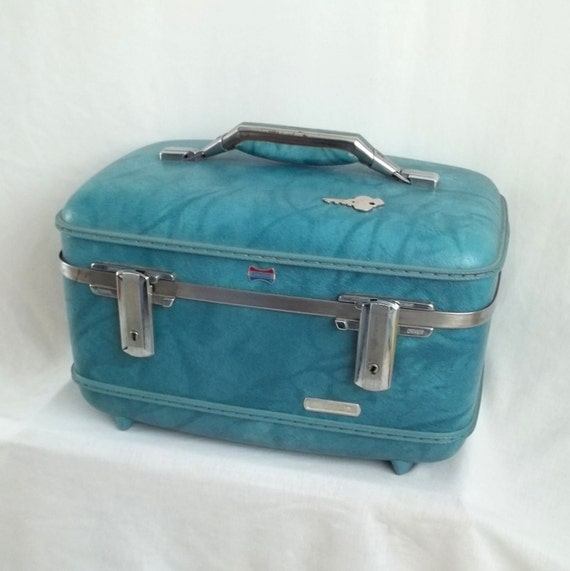 Blue American Tourister Train Case with Key