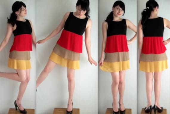 Unique Black Red Yellow and Beige Tiered Dress