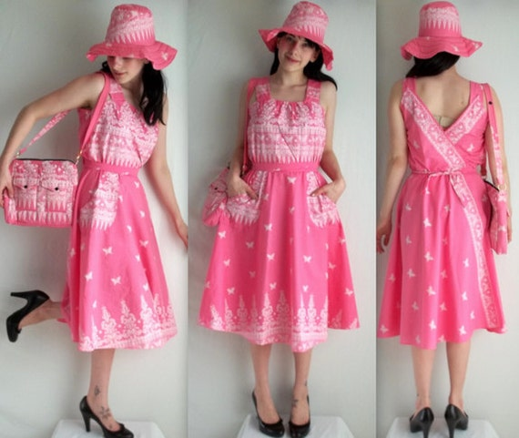 Pink Paisley Butterfly Dress Hat and Purse