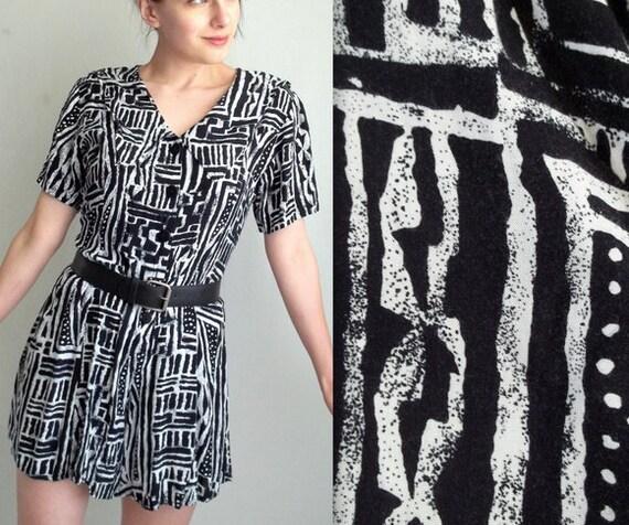 Black & White Ethnic Print Romper