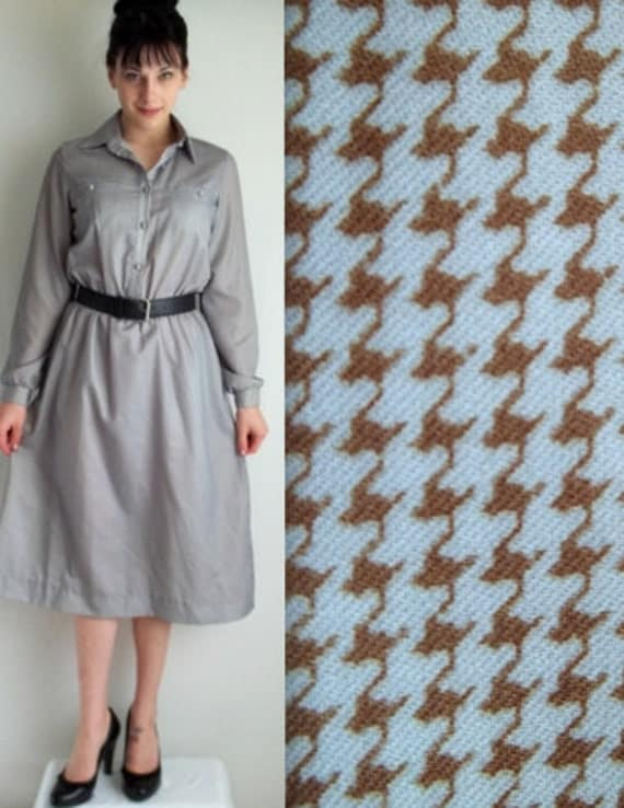 Light Blue and Brown Houndstooth Dress with Pockets