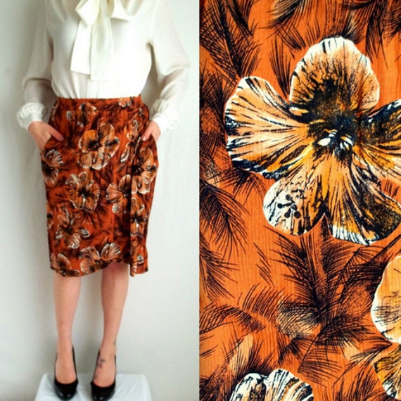 Tropical Floral Wrap Aorund Skirt with Pockets