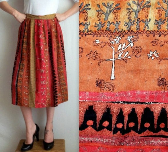 Ethic Print Mid Length Skirt with Pockets