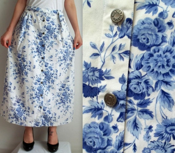 Blue Floral & White Skirt with Pockets
