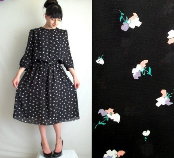 Black & Pastel Floral Dress with Matching Belt