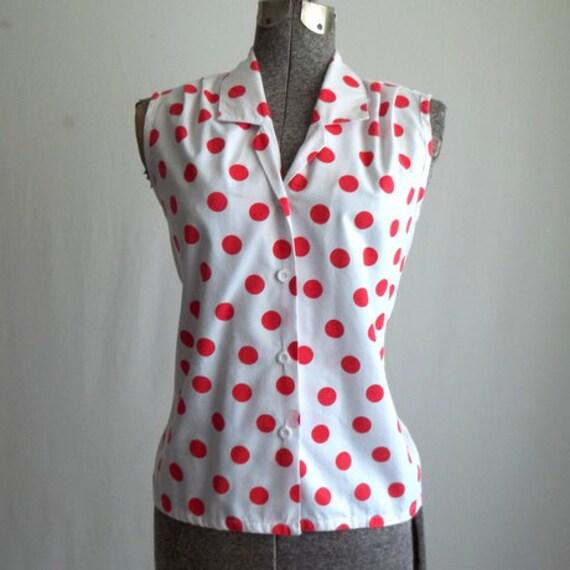 Red & White Polka Dot Blouse