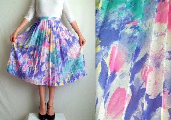 Pastel Pleated Floral Skirt