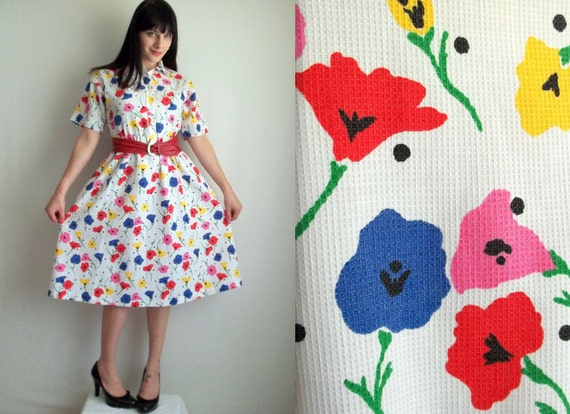 White & Rainbow Floral Day Dress with Pockets and Belt