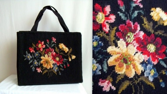 Black & Rainbow Floral Tapestry Purse
