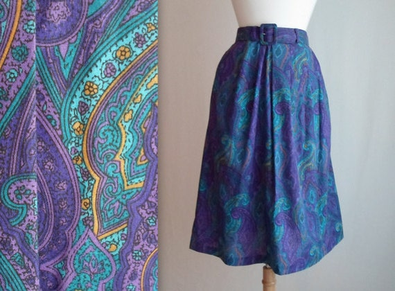Purple Paisley Skirt with Belt & Pockets