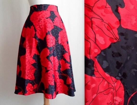 Red & Black Floral Silk Skirt