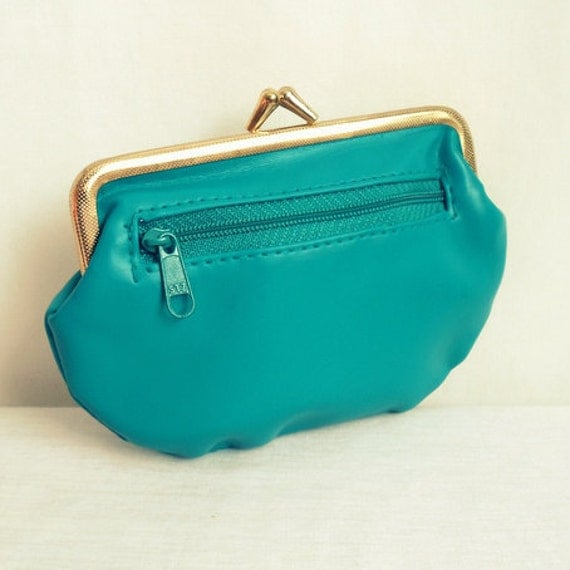 Teal Wallet with Coin Pouch & Gold Tone Clasp