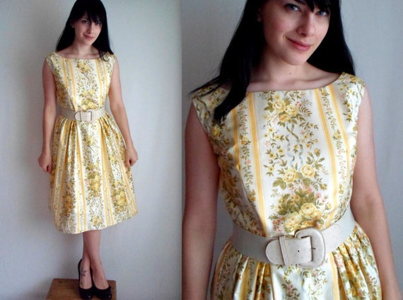 Pale Yellow Floral Vintage Style Dress