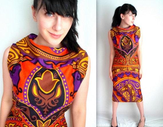 Orange Purple & Black Retro Dress