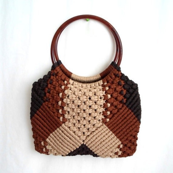 70s Brown Beige & Black Macrame Purse