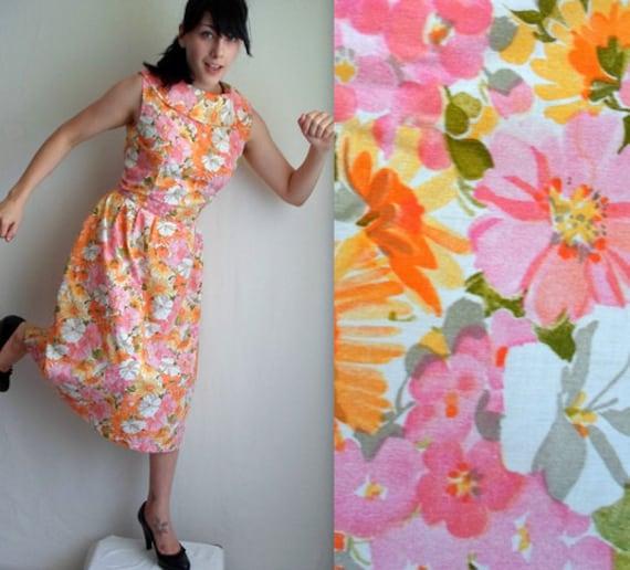 Pink Yellow & Orange Floral Vintage Style Dress