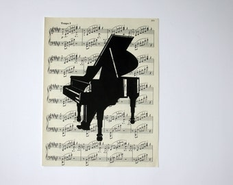 Art Print of Piano on Vintage  Music