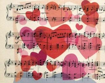 Hearts, Hearts, Hearts Print on Vintage Sheet Music