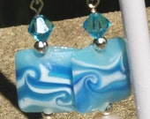 Surfside Lampwork Glass, Pearl and Crystal Earrings -- Hypo-allergenic