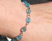 Something Blue -- Delicate Blue Czech Crystal Bracelet