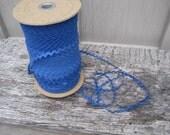 Pretty Royal Blue cotton rick rack trim sewing scrapbooking crafts quarter inch wide