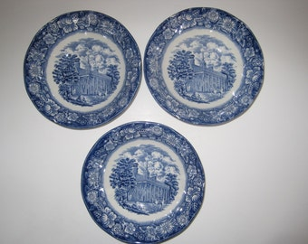 Staffordshire Liberty Blue Soup Cereal Bowls  Transferware English Lot of 3