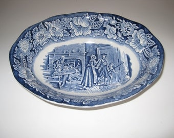 Staffordshire Liberty Blue Oval serving vegetable Bowl  Transferware English