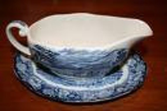 Vintage Staffordshire Liberty Blue Gravy Boat with underplate Transferware English